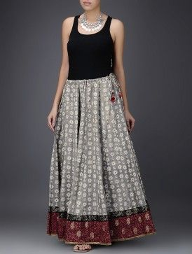 Grey-White Dabu-Printed Kalidar Cotton Skirt with Rogan Border