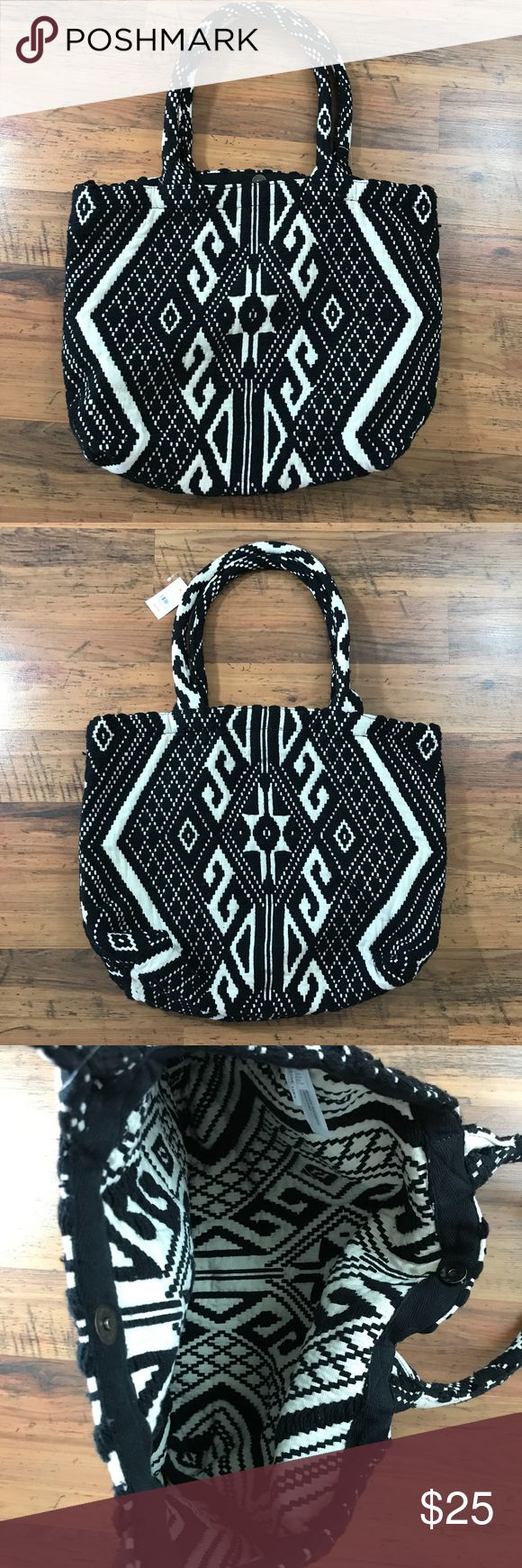 "Ann Taylor LOFT Black White Aztec Purse Bag NWT Ann Taylor LOFT Black White Aztec Purse Bag NEW! 18.8"" x 15.5"" LOFT Bags"