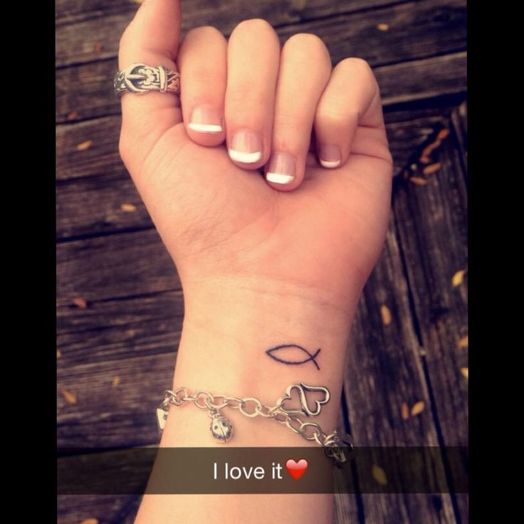Christian Fish/ Jesus Fish Tattoo  Cute, Christ, love, saved, free, wrist, arm, tattoo, fish, small, girlie, women, young, ichthys, symbol, Greek, cross, promise, God