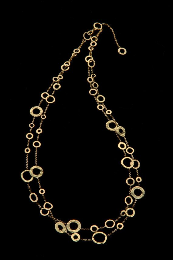 18k Gold Necklace,Delicate & Rich Different Sized 18k Solid Gold Hammered Hoops Necklace, Fine Bridal Jewelry, Exclusive Design