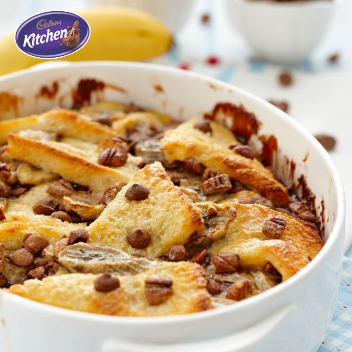 Embrace #winter warming flavours with this classic Bread and Butter #Pudding #recipe, made all the better with CADBURY #chocolate and bananas! It's guaranteed to warm your family and your home. https://www.cadburykitchen.com.au/recipes/view/chocolate-banana-bread-and-butter-pudding/5/   To view the #CADBURY product featured in this recipe visit https://www.cadburykitchen.com.au/products/view/baking-chips/  #Dessert #Chocolate #baking