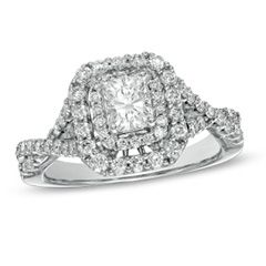 1-1/4 CT. T.W. Certified Radiant-Cut Diamond Double Frame Engagement Ring in 14K White Gold (H-I/I1) - Jewelry Rings - Gordon's Jewelers