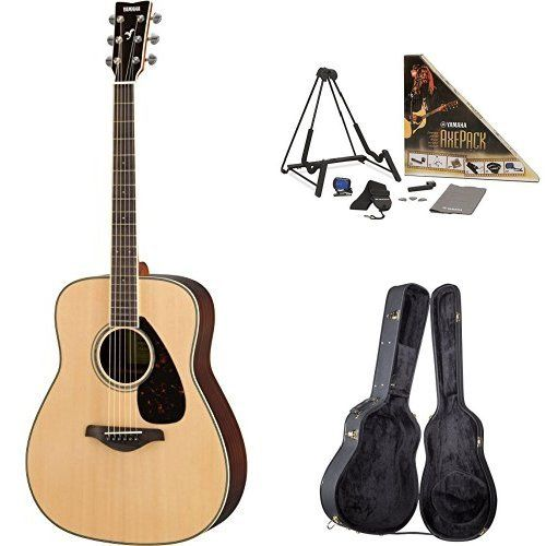 Yamaha FG830 Acoustic Guitar, Natural, with Yamaha Guitar Case and Accessories Pack. Yamaha FG830 Acoustic Guitar, Natural. Yamaha Axe Pack Guitar Accessory Kit for Electric & Acoustic Guitar. Yamaha AG1-HC Hardshell Dreadnought Acoustic Guitar Case.