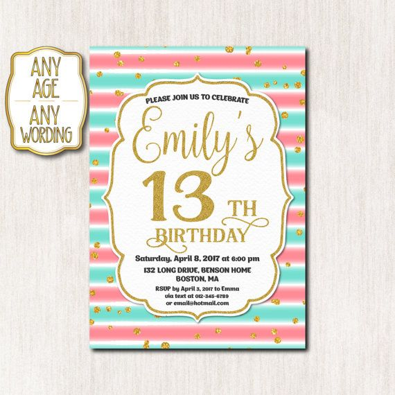 90 best Teen birthday invitations images – Thirteenth Birthday Invitations