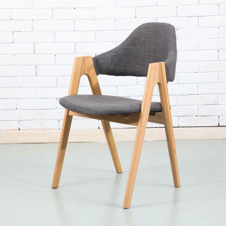Nestor Solid Oak Dining Chair - Light Grey Fabric - ICON BY DESIGN #iconbydesign #iconbydesignaustralia #redeemadeal #redadeal