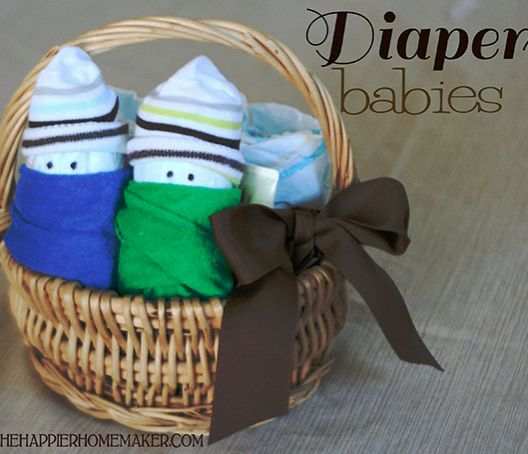 "Diaper ""babies"" made from diapers, baby washcloths, and baby socks! Adorable!"