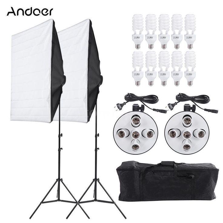 Photo Studio Video Light Continuous Lighting Kit Lamp Softbox Stand Set US I2G2