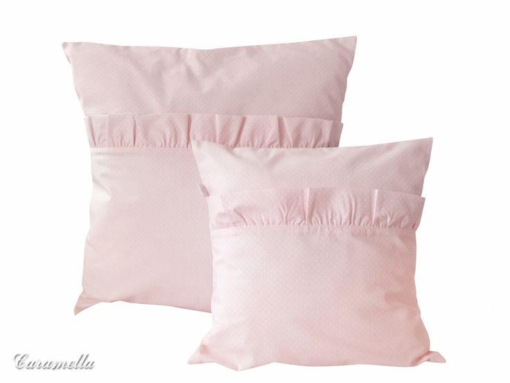 Poduszki różowe w groszki z falbanką - Poduszki ozdobne - Do pokoju - Caramella