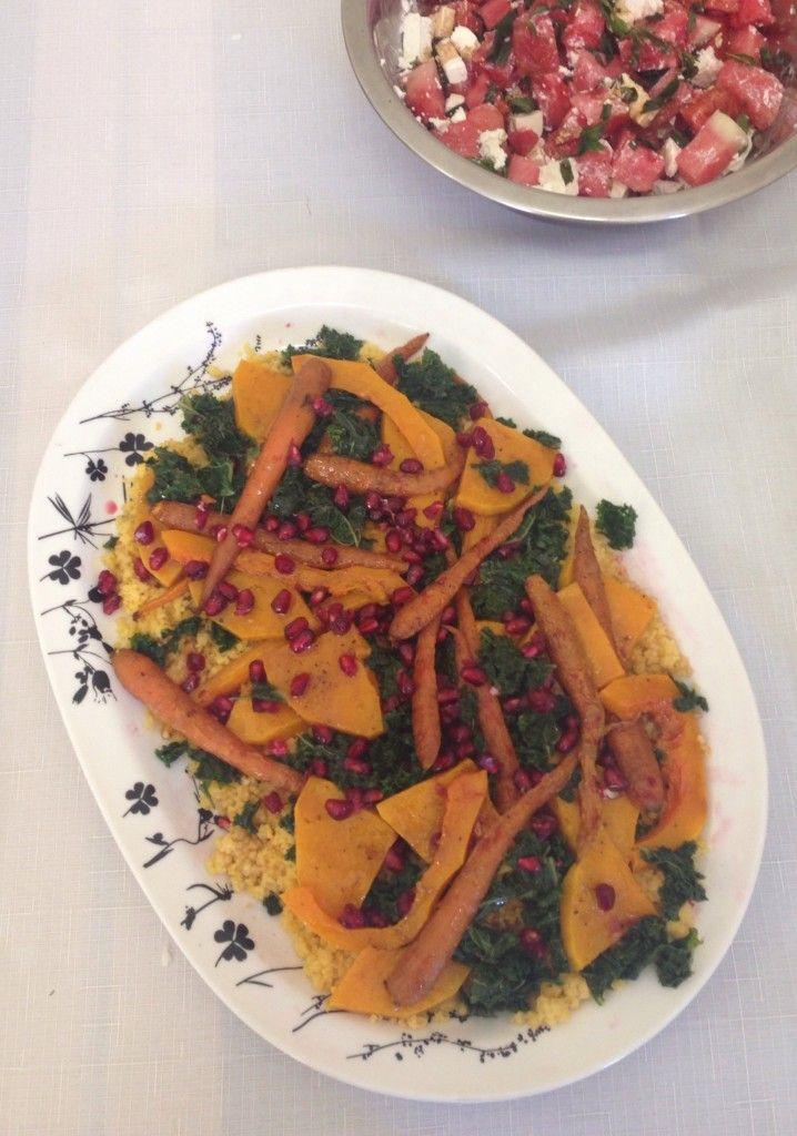 Kale, butternut pumpkin & cous cous salad #fixingwithfood #iqs #fodmaps #lowfodmap #glutenfree #lactosefree #salad #kale #pomegranate