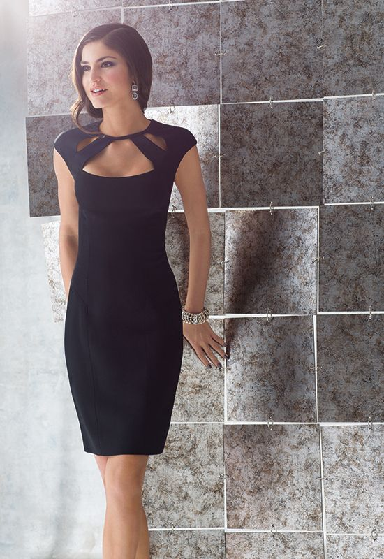 LITTLE BLACK DRESS | Black Cut-Out Cap Sleeve Dress | Caché #CacheStyle