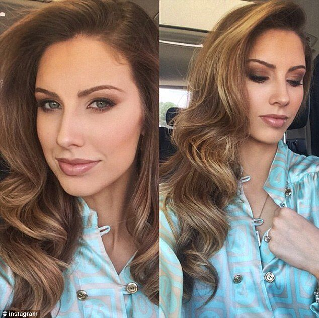 Katherine Webb brown smudge smokey eye bridal shower makeup look