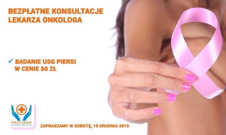 BEZPŁATNE konsultacje lekarza onkologa USG piersi tylko 50 zł. Data: sobota, 19 grudnia 2015. Serdecznie zapraszamy wszystkie Panie na bezpłatne konsultacje lekarza onkologa. Prosimy o zabranie ze sobą wyników badań USG piersi. Przed konsultacją onkologiczną badanie USG piersi można także wykonać w Centrum Medycznym PRZYJAŹNI w cenie 50 zł. Centrum Medyczne PRZYJAŹNI, ul. Przyjaźni 111A, #Wrocław, tel. 713001272, 713001273
