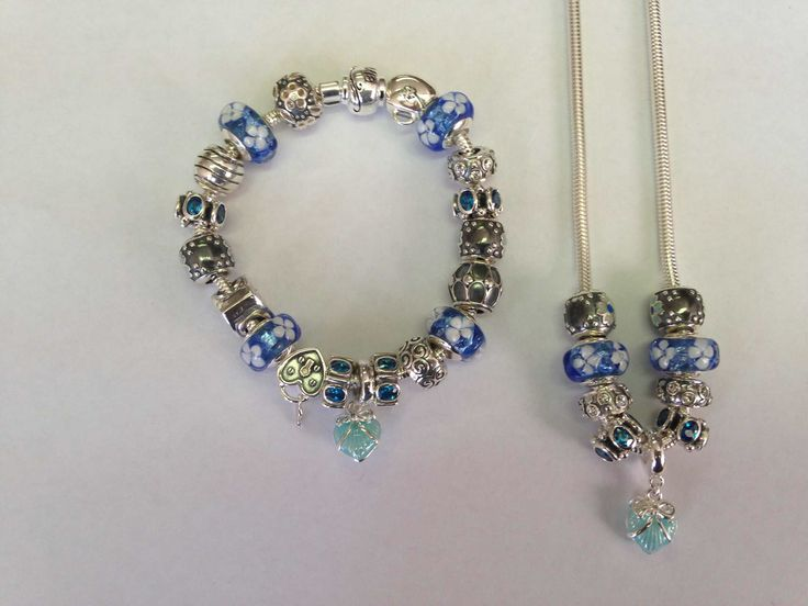 Blue and silver charm bracelet and necklace