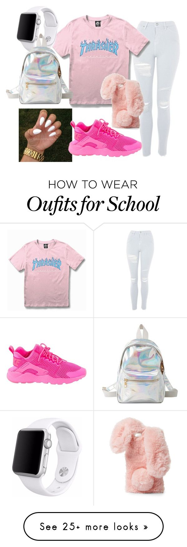 """""""Back to school """" by owensizabella on Polyvore featuring Topshop, WithChic, Ashlyn'd, NIKE, Apple and Charlotte Russe"""