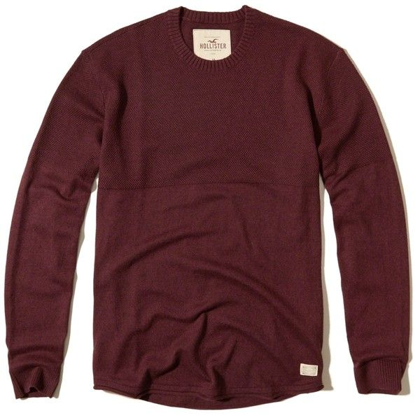 Hollister Textured Crew Sweater ($50) ❤ liked on Polyvore featuring men's fashion, men's clothing, men's sweaters, burgundy, mens crewneck sweaters, mens slim fit sweater, mens crew neck sweaters, mens roll neck sweater and mens burgundy sweater