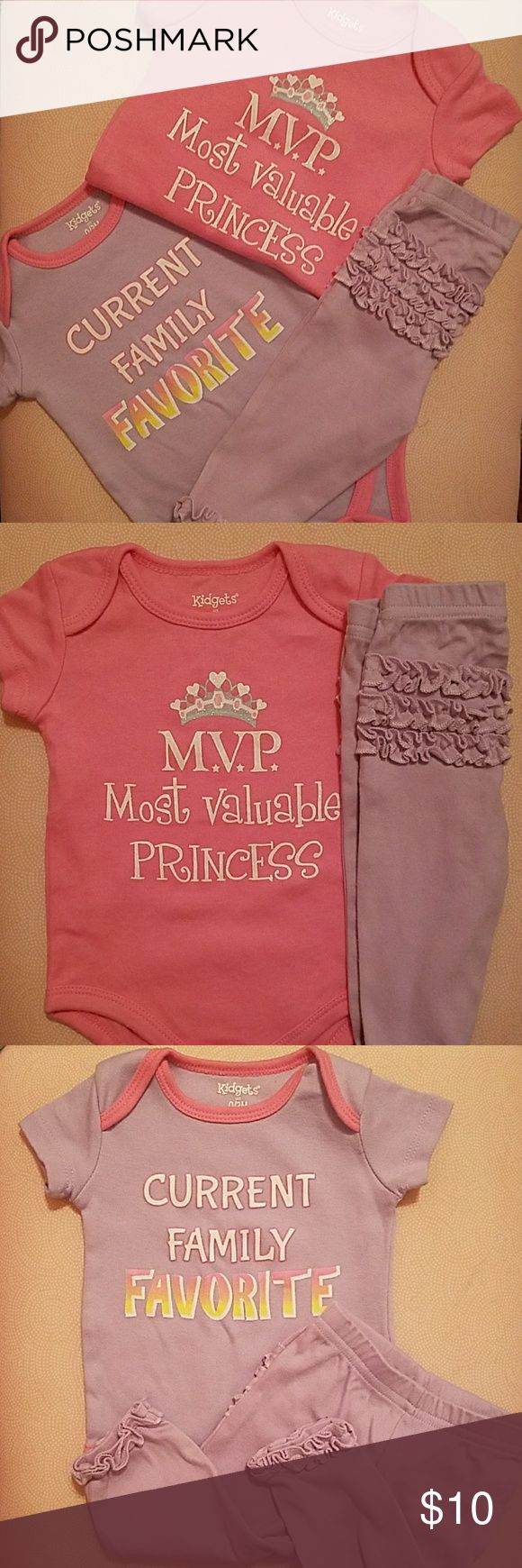 "3pc bundle - Cute baby girl one pieces with pants Of course your ""most valuable princess"" is the ""current family favorite""! Enjoy this great deal with two baby girls 1 pieces and a matching pair of pants. Never worn,  ready to ship! Matching Sets"
