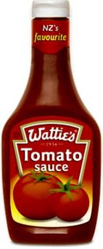 """NZ Tomato Sauce - like ketchup...but better. """"Watties"""" has been the predominant sauce brand since ... Well, before the canoes landed I think.... Now merged with the Heinz company, the Watties product is still sold alongside the """"57 varieties"""".  Bill ✔️    .  (Image, curation & caption: @BillGP)"""
