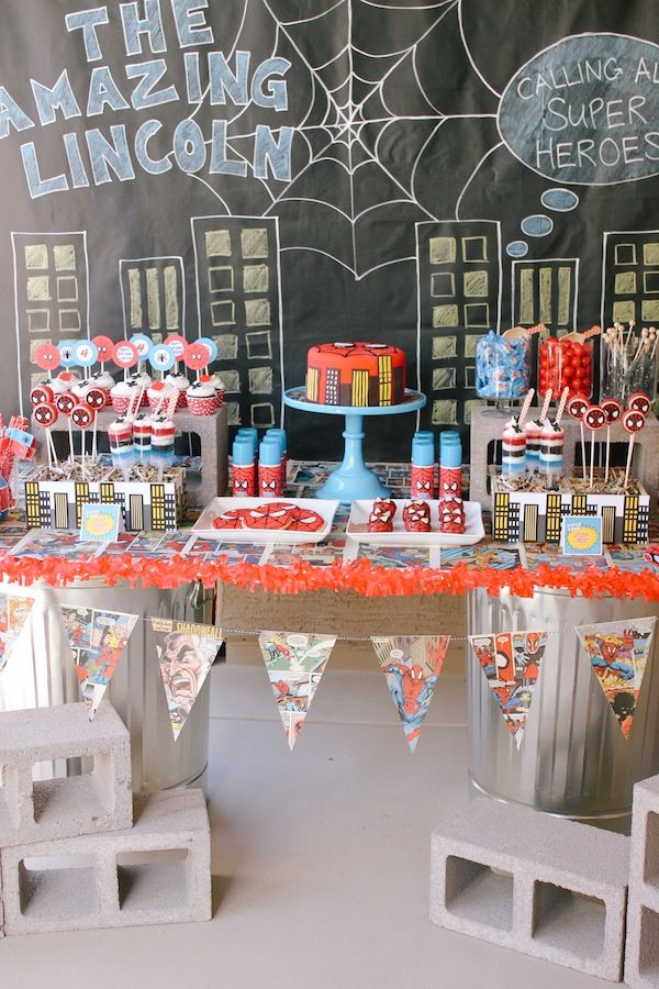 spiderman superhero birthday party: The background & dessert table
