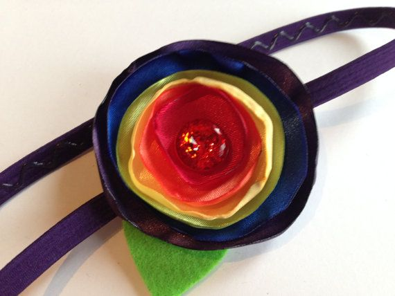 Free USA Shipping - Rainbow Satin Burned Edges Flower Headband on Etsy, $11.00