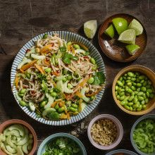 Noodle salad with soybeans