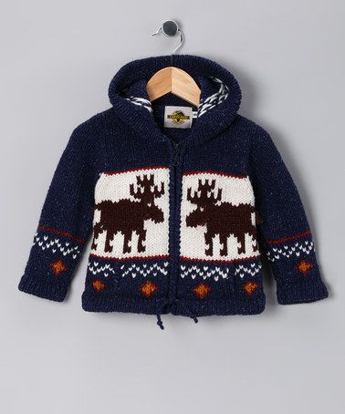 Take a look at this Navy Moose Wool-Blend Zip-Up Hoodie - Toddler & Boys by EARTH RAGZ on #zulily today!
