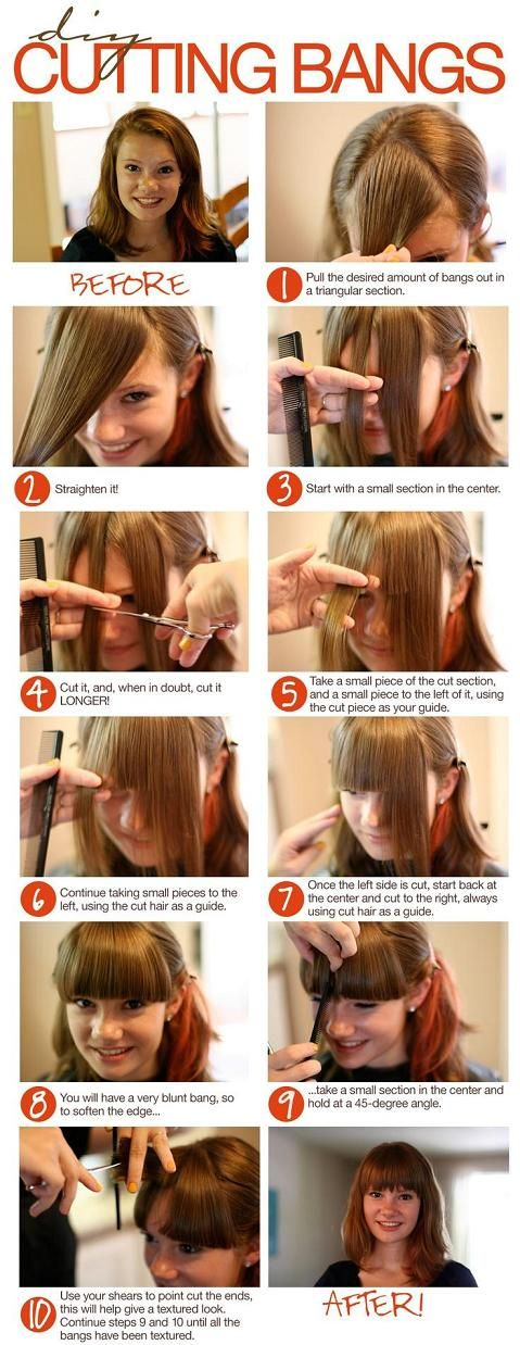 diy bangs cut - I will never have the courage to do this. I've tried trimming my bangs before... but I get too scissor happy.