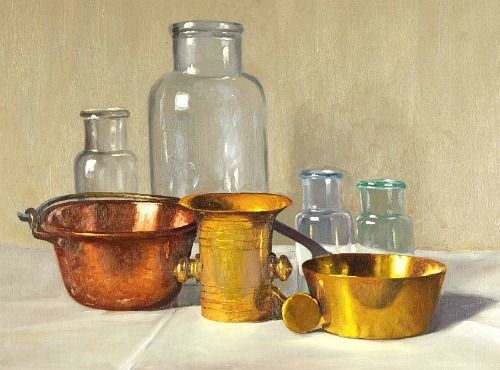 Arpad Romek//Still Life with Glass and Copper Pots//20th century