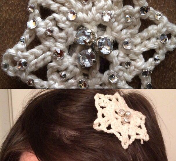 Snowflake crochet hair clip!