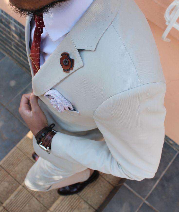 Beige ottoman cotton suit. STEEZ