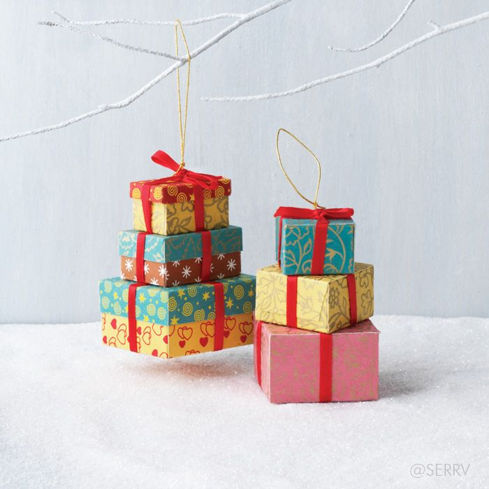 Stacked gift boxes ornament set trim your tree mantle or