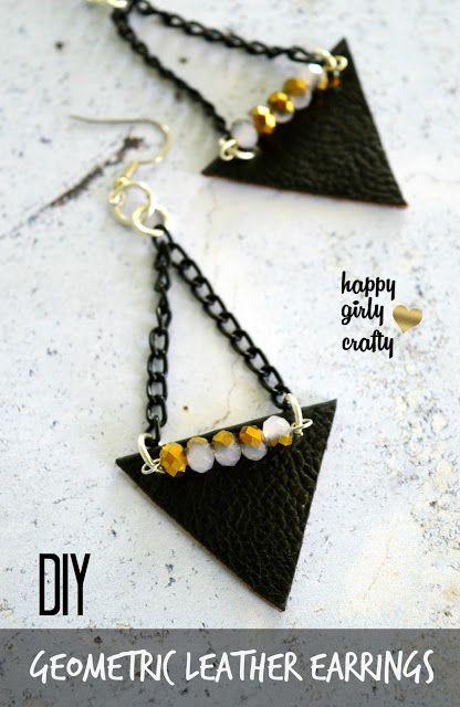 Geometric leather earrings DIY!