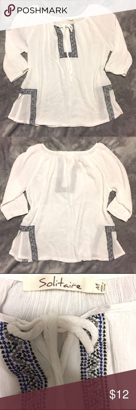 Solitaire from Buckle Boho Peasant Top SZ Medium Solitaire from the store Buckle. This boho peasant top is in perfect new condition. Never worn. Size Medium. Gorgeous woven embroidery. True to size. Buckle Tops Blouses
