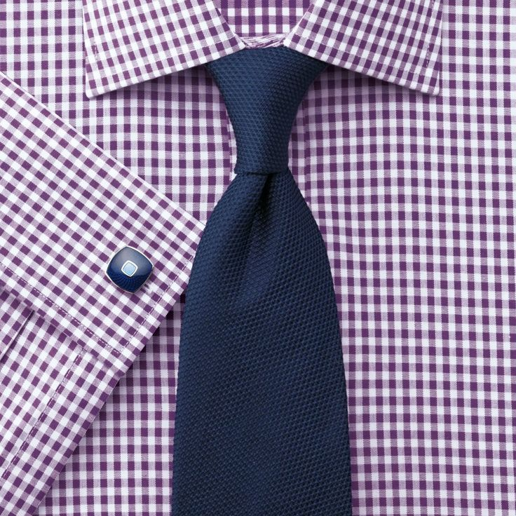 Plum silk road gingham check slim fit shirt | Men's formal shirts from Charles Tyrwhitt, Jermyn Street, London