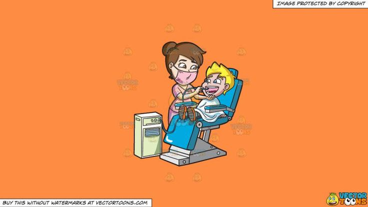 A Happy Boy Getting His Teeth Cleaned At The Dentist On A Solid Mango Orange Ff8c42 Background:   A boy with blonde hair wearing gray pants and orange shoes body covered in white cloth sits on a blue with steel legs dental chair as he opens his mouth to let the assistant of the dentist wash his mouth using a dental spray apparatus with tube  #dental #dentist #health #teeth #clipart #vectortoons #illustration