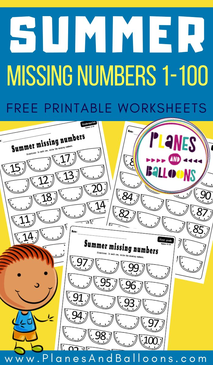 Missing numbers 1100 worksheets PDF Planes & Balloons
