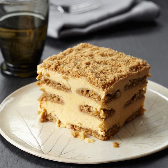 Pumpkin pie meets tiramisù, with layers of pumpkin-mascarpone custard and gingersnaps brushed with Calvados syrup. In the freezer, the flavors and te...