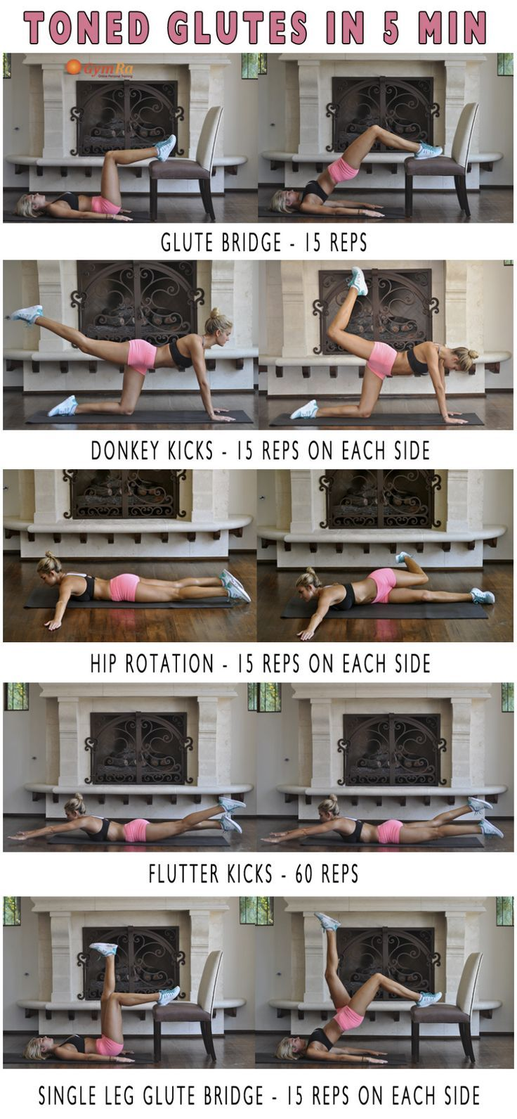 """gymra: """" 5 Min Butt Workout. Shape, lift, and tone with this short & effective routine! """""""
