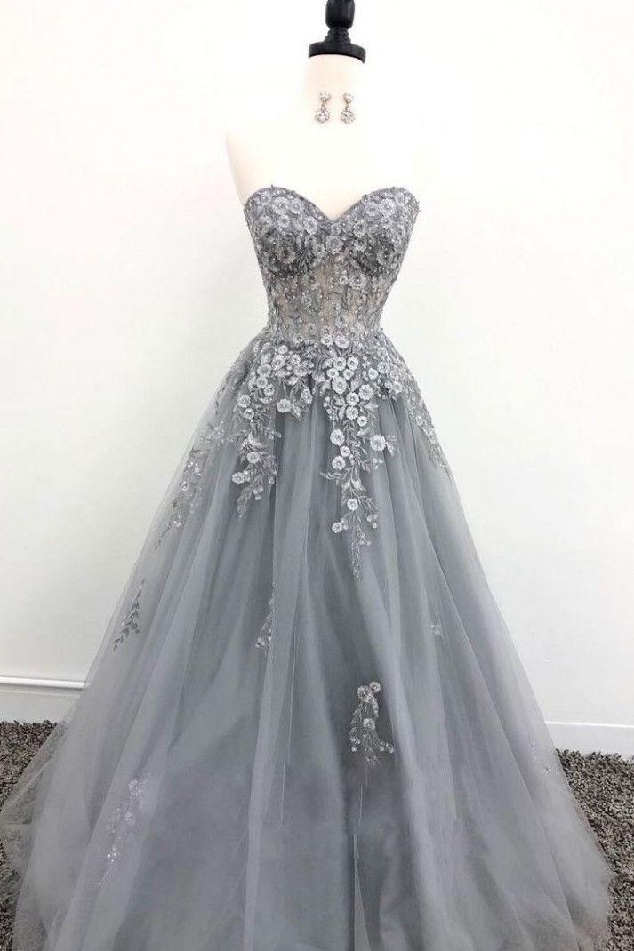 Langes Abendkleid aus grauer Tüllspitze, graues Abendkleid - Kleid