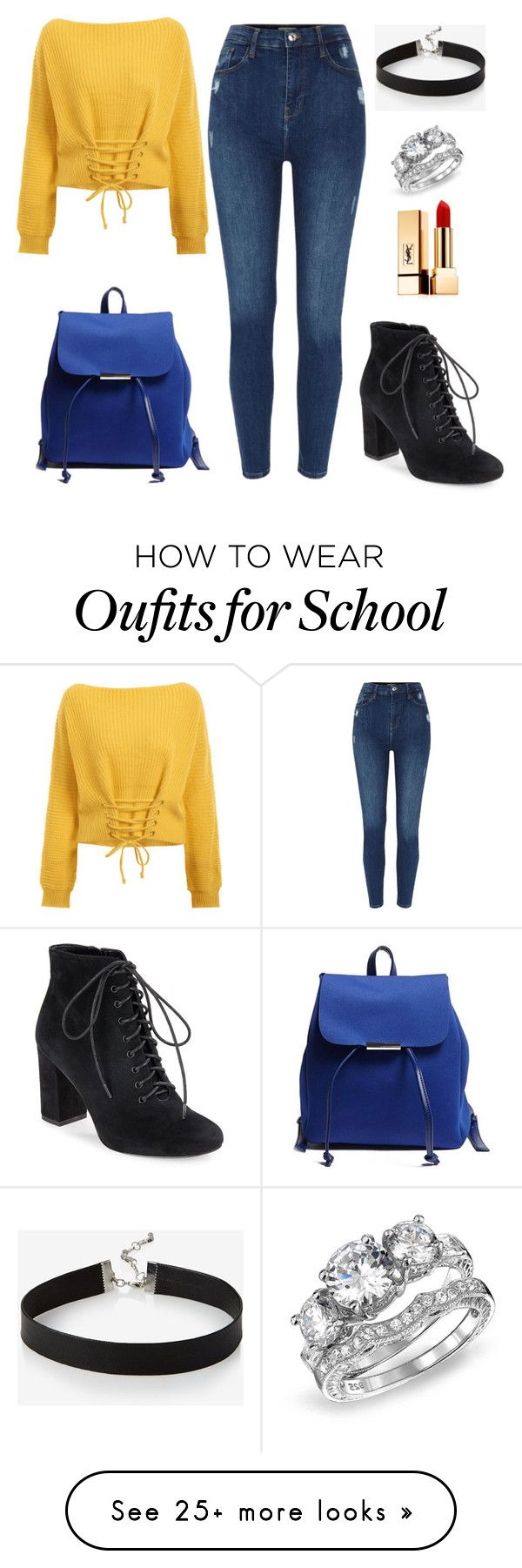 """go to school #8"" by maeva-hoarau on Polyvore featuring Forever 21, 424 Fifth, Bling Jewelry, Express and Yves Saint Laurent"