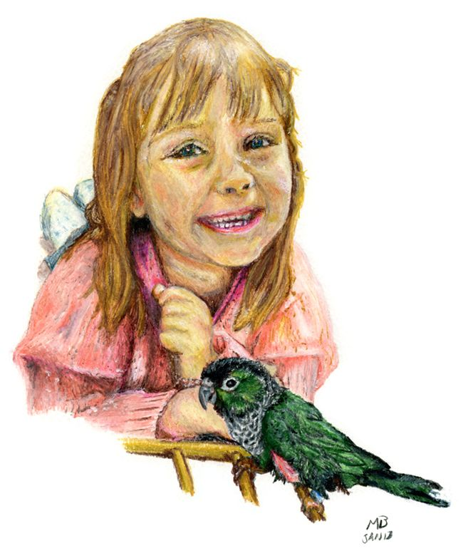 Abigail and Billy, Green Conure Parrot