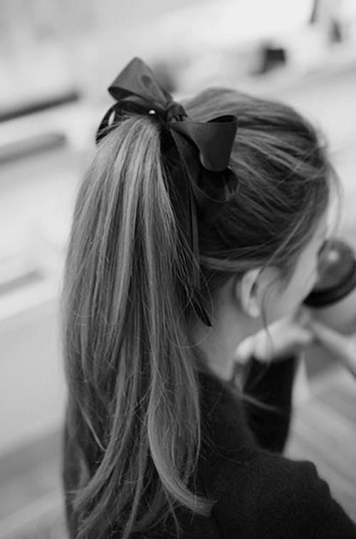 long ponytail with bow, I should try this! It's so cute