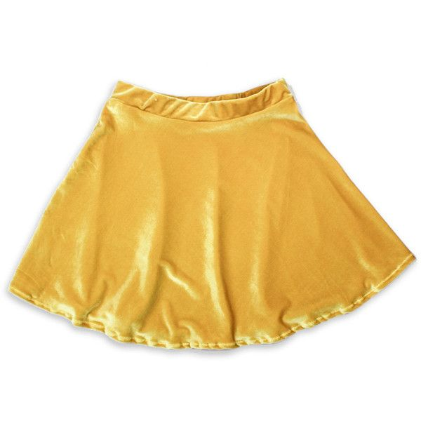 Mustard Yellow Velvet Skater Skirt Ends Dec 26 (83 BRL) ❤ liked on Polyvore featuring skirts, bottoms, yellow, light pink, women's clothing, stretchy skirts, yellow skater skirt, yellow circle skirt, velvet circle skirt and light pink skater skirt