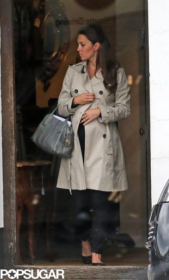 Exclusive: Kate Middleton Skips a Wedding to Shop Antiques: Kate Middleton visited a shop in Hungerford.  : Kate Middleton wore a black outfit and a trench coat.