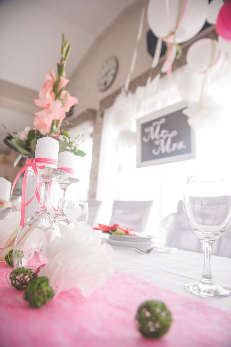 My own wedding: I loved the candles on the wine glasses, and the lace balls from cake paper! Mr & Mrs :)
