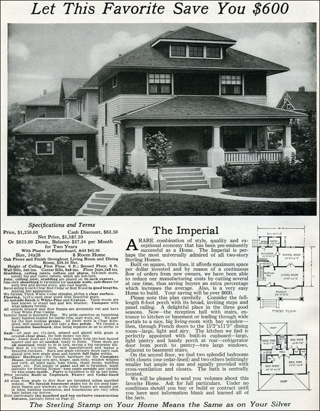 The imperial has all the characteristics of an american for Prairie foursquare house plans