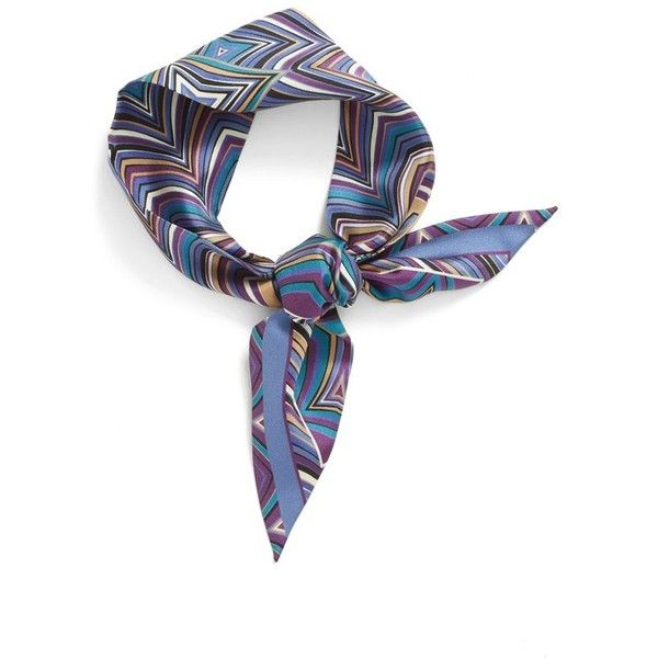 Women's Missoni Print Silk Skinny Scarf (£105) ❤ liked on Polyvore featuring accessories, scarves, purple, purple silk scarves, tie scarves, tying silk scarves, patterned scarves and missoni scarves