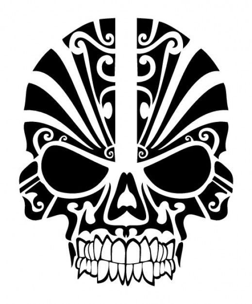 Skull tribal mask tatoo