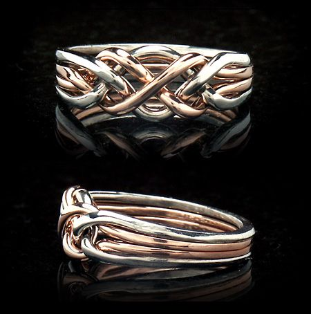 Product Detail (Puzzle Rings - Madison Four-Band Puzzle Ring in Medium Weight in Open Weave)