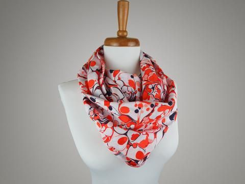 Handmade Red Marble Print Infinity Scarf from maxandrosie.co.uk