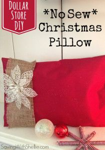 Love this idea for a no-sew pillow using mostly Dollar Store items! #DIY
